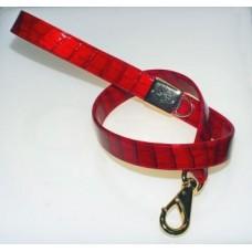Guinzaglio Ecopelle Coccodrillo Rosso